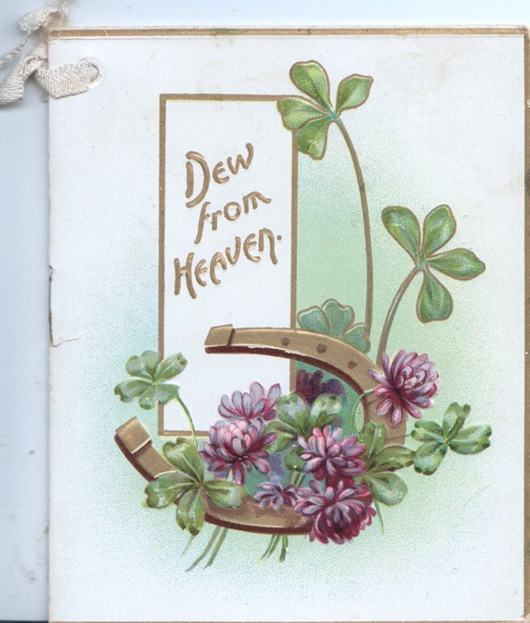 DEW FROM HEAVEN in gilt over gilt horseshoe and purple shamrock