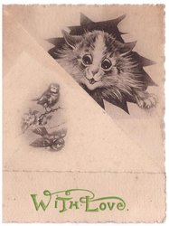 WITH LOVE opt. in green, 2 birds on triangular front flap, cat exposed upper right, shades of grey