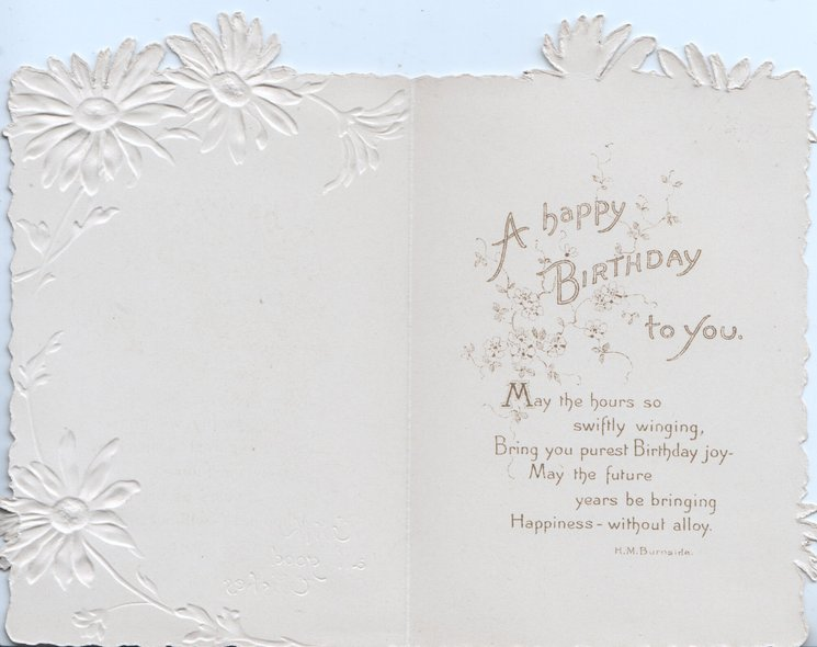 WITH ALL GOOD WISHES in gilt below blue bird of happiness flying front left with blossom in bill,single white embossed/stylised daisies right & top