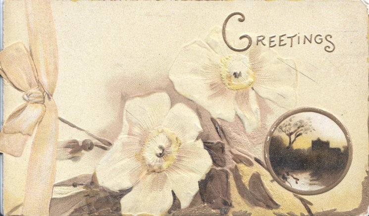 GREETINGSin gilt above pale yellow anemones, small circular rural inset below right, printed yellow bow left