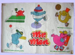 MR. MEN white background with five different characters playing sports
