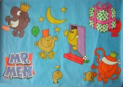 MR. MEN blue background with five different characters with party symbols