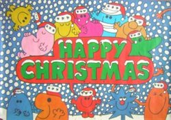 HAPPY CHRISTMAS blue background with snow and ten different characters with a HAPPY CHRISTMAS sign