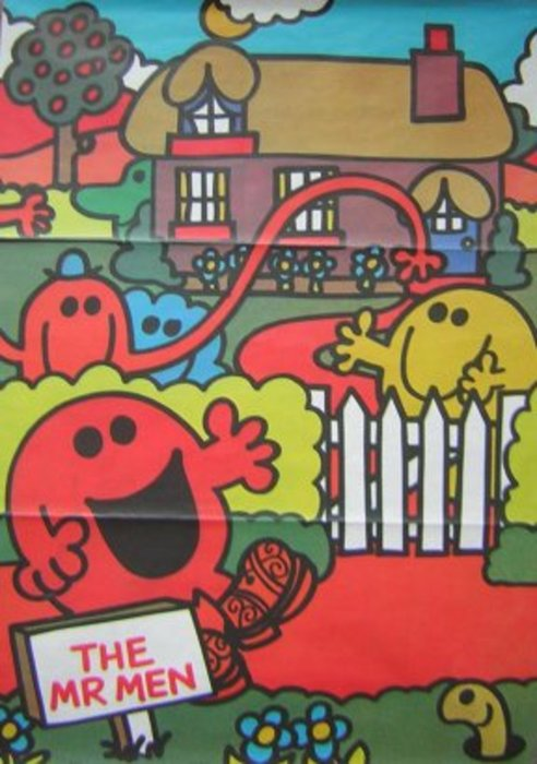 THE MR. MEN red character greeted by another behind a gate