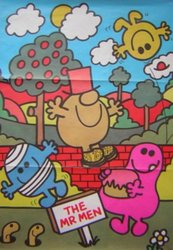 THE MR. MEN character sits on brick wall two others on ground in front
