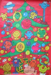 red background with large green Christmas tree decorated with characters