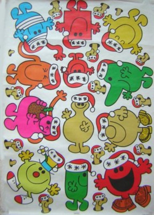 white background with many characters wearing Santa hats