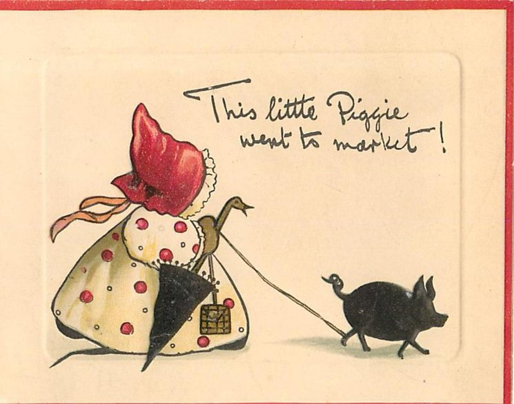 THIS LITTLE PIGGIE WENT TO MARKET! pig moves right followed by girl wearing red hat carrying umbrella and purse