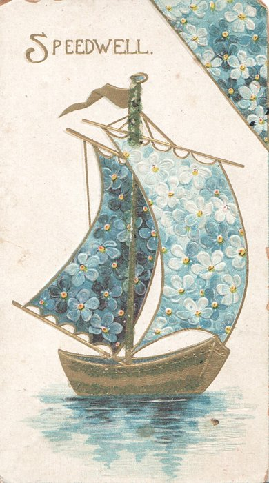 SPEEDWELL in gilt left, forget-me-nots on sails of boat & in design,