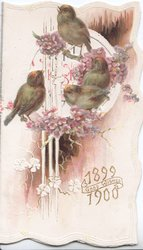 1899 GOOD WISHES 1900  below 4 BLUEBIRDS perched on blossom  branches in front of perforated design