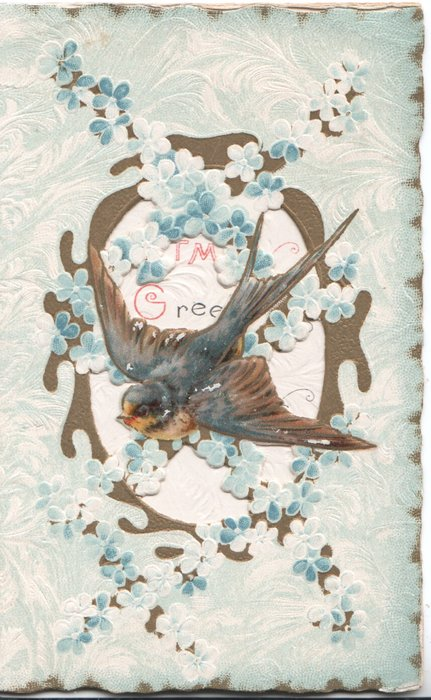 no front title, bluebird-of-happiness flies across perforated gilt & forget-me-not design, pale blue background