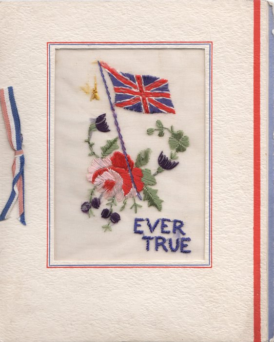 EVER TRUE IN BLUE below flag & rose with stylized flowers on transparent inset in thick card
