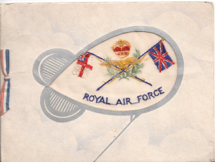 ROYAL AIR FORCEbelow 2 flags & crown on transparent inset in thick card