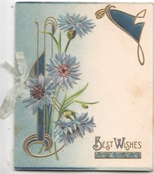 BEST WISHES in gilt below right, blue cornflowers left in designed support