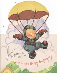 JUST DROPPING IN --TO WISH YOU A HAPPY BIRTHDAY in red below boy parachuting down to rural landscape