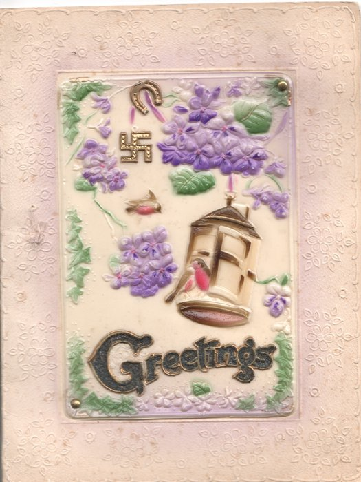 on celluloid front GREETINGS(illuminated) below 2 birds perched on lantern, lilac above with glittered swastika & horseshoe