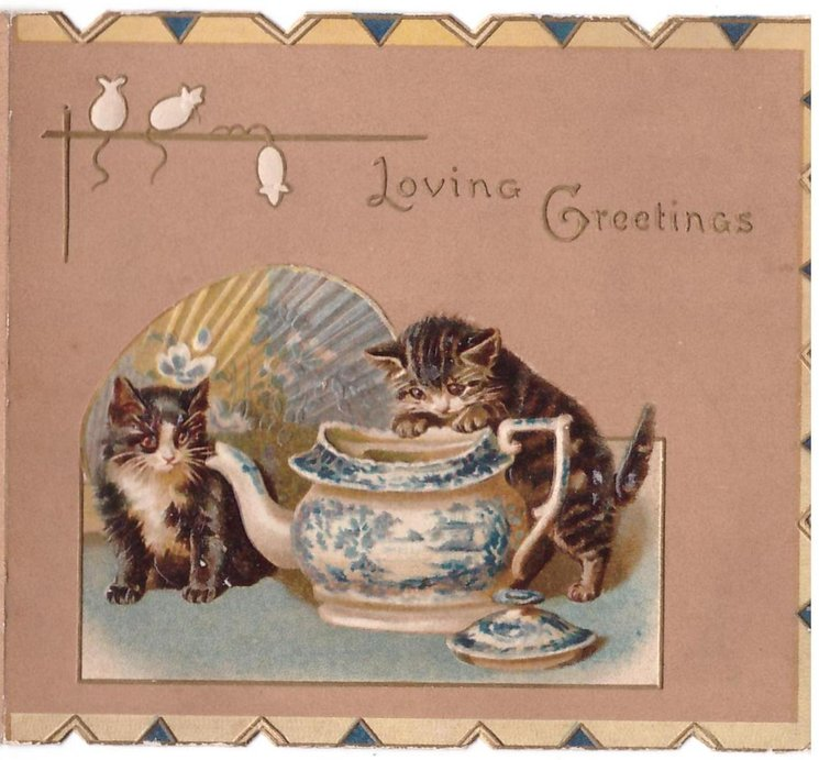 LOVING GREETINGS two kittens, one peers into teapot, stylised white mice on tan background