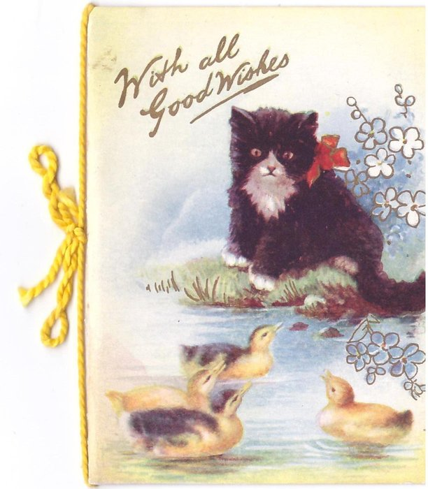 WITH ALL GOOD WISHES in gilt, black & white kitten watches 3 goslings at water's edge