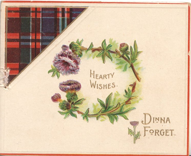 HEARTY WISHES in gilt at centre surrounded by loops of pirple Scottish flowers, tartan top left DINNA FORGET below right