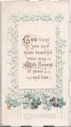 GOD BLESS YOU AND MAKE BEAUTIFUL YOUR WAY WITH FLOWERS OF PEACE AND LOVE on white plaque above forget-me-nots