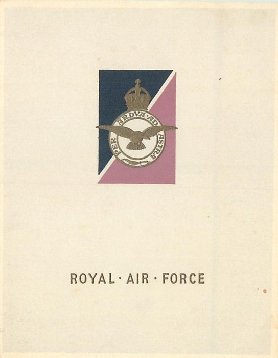 ROYAL AIR FORCE (front) -- NO.5  SCHOOL OF RECRUIT & TRAINING (inside) gilt crest over blue & red triangles