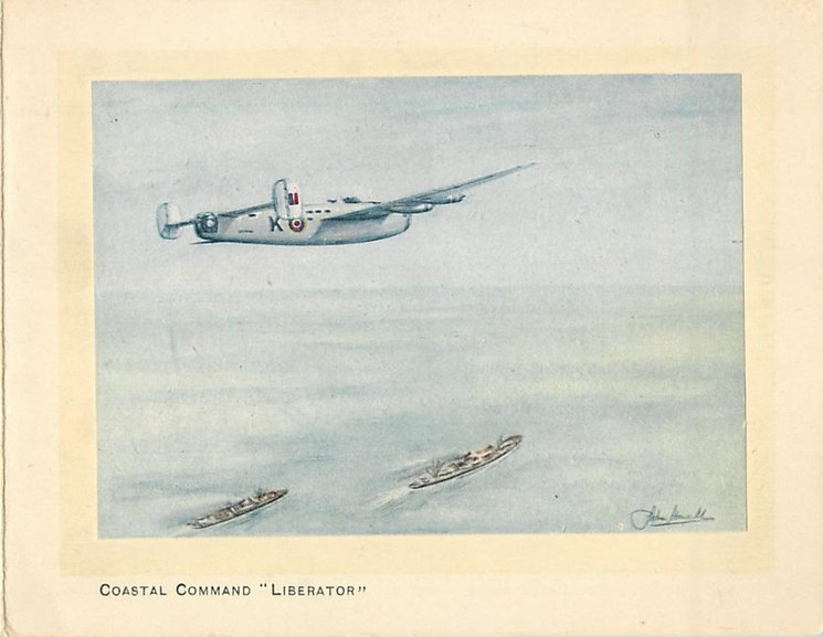 "COASTAL COMMAND ""LIBERATOR"" plane flies above 2 ships on ocean, inset"