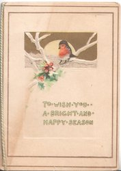 TO WISH YOU A BRIGHT AND HAPPY SEASON below winter inset English robin perched above holly