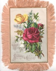 WITH THE SEASON'S GREETINGS  in gilt below red & orange roses in floral bouquet