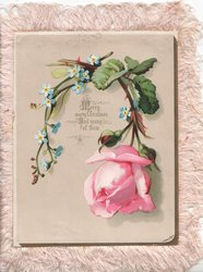 MERRY MERRY CHRISTMAS in gilt below loop of pink rose & forget-me-nots