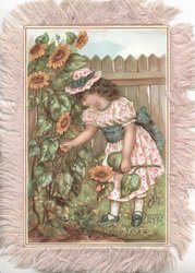 A HAPPY NEW YEAR below girl picking daisies in fenced garden