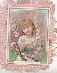 TO EACH AND ALL A GLAD NEW YEAR orchard scene girl holding to tree in pink blossom