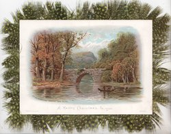 """A HAPPY CHRISTMAS TO YOU """"ON THEWISSAHICKON"""" FAIRMONT PARK,PHILADA. 2 people in boat below stone bridge, rural scene"""