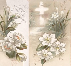 white lilies on irregular left flap, A HAPPY NEW YEAR TO YOU top right, image of cross in sky top left, white lilies in water