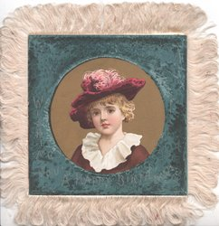 WISHING YOU A HAPPY BIRTHDAY in gilt, circular head & shoulder inset of pretty girl in old style dress, dark blue surround