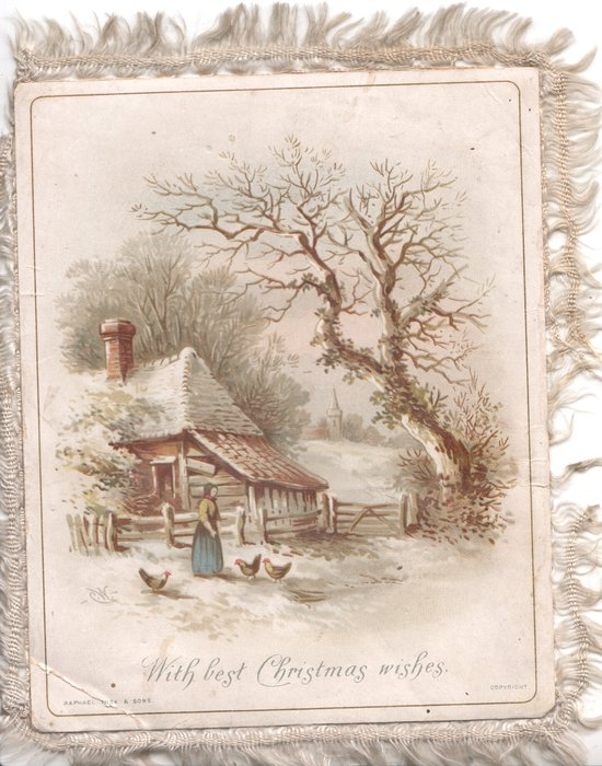 WITH BEST CHRISTMAS WISHES woman feeds chickens in front of rural farmhouse, winter scene