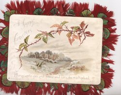 A HAPPY CHRISTMAS above blackberry & winter rural scene MERCY UNTO YOU AND PEACE AND LOVE BE MULTIPLIED