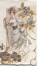 GREETINGS in gilt on skirt of pretty girl in white holding cane, purple pansies above & below, embossed marginal design