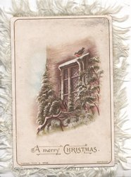 A MERRY CHRISTMAS in gilt below window  with evergreen below & on sides, tiny robin  perched above