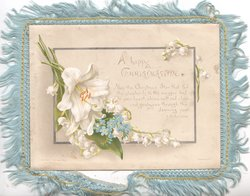 A HAPPY CHRISTMASTIDE verse, lilies, lilies of the valley & forget-me-nots left