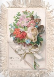 MAY EVERY CHRISTMAS BE SWEETER THAN THE LAST below left, rose, wallflowers, forget-me-nots above embossed bow