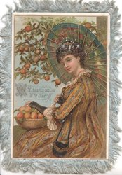MY HEART IS CAPTIVE TO THEE! girl stands facing left under orange tree, parasol, hand on basket of oranges