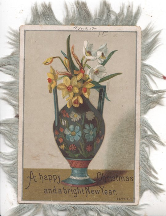 A HAPPY CHRISTMAS AND A BRIGHT NEW YEAR below narcissi in art nouveau blue vase