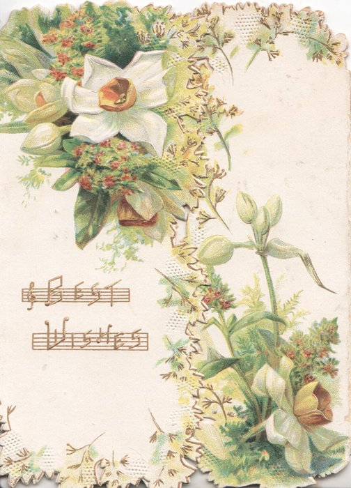BEST WISHES in gilt left over music, mignonette & narcissi above & right on both flaps