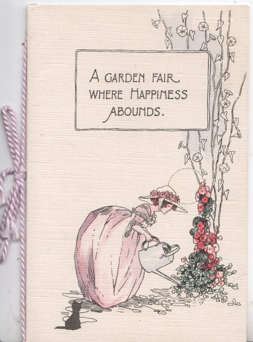 A GARDEN FAIR WHERE HAPPINESS ABOUNDS young woman Iin huge skirt waters hollyhocks