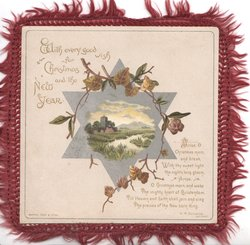 WITH EVERY GOOD WISH FOR CHRISTMAS AND THE NEW YEAR top left, circlet of ivy round watery rural inset