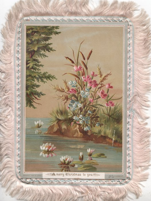 A MERRY CHRISTMAS TO YOU water lilies in lake, tree left, pink & white flowers right