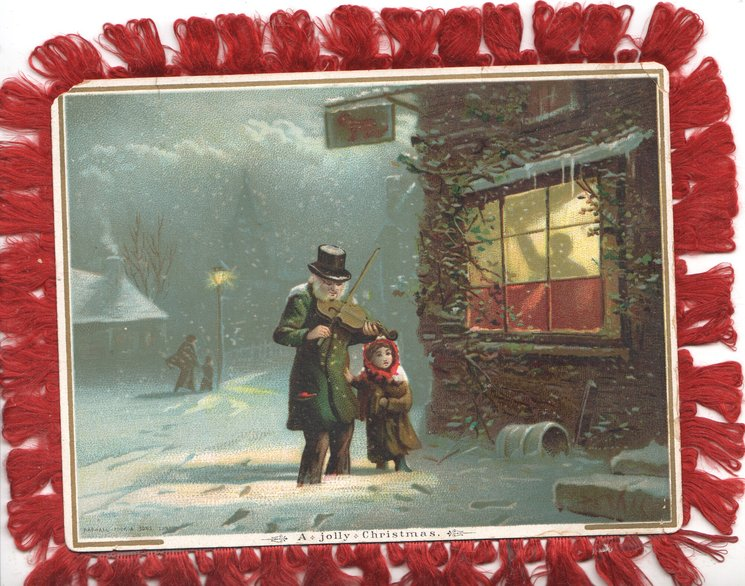 A JOLLY CHRISTMAS below night scene, man plays violin, child sings in front of inn