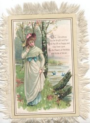 MAY CHRISTMAS DAY BE BRIGHT AND FAIR....pretty girl in old style dress standing in flowers by lake