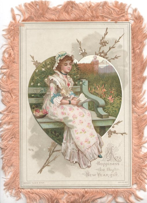 MAY HAPPINESS BE THY NEW YEAR GIFT heart shaped inset pretty girl sits reading on garden seat