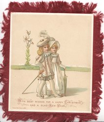 WITH BEST WISHES FOR A HAPPY CHRISTMAS AND A GLAD NEW YEAR couple in old style dress stroll right